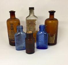 Vintage bottles Pharmacy Bottles Antiuqe by CnCVintageFinds