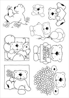 various bear stamps Cute Coloring Pages, Colouring Pics, Adult Coloring Pages, Coloring Sheets, Coloring Books, Image Clipart, Scrapbook Cards, Scrapbooking, Copics