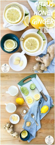Citrus Honey Ginger Tea is an invigorating, fresh, hot, tea drink to help banish winter health woes and it is our go-to cold & flu remedy. #tea #ginger #lemon #honey #coconutoil