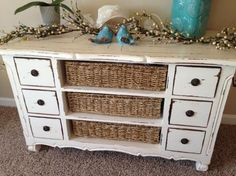 A great example of converting an old dresser into a basket dresser. Very pretty! Great to do with dressers with damaged drawers.