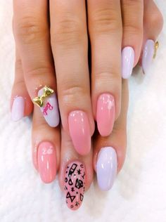 Super Cute Barbie Nails.  Acrylic long almond shape. Pink and white. With diamond!!