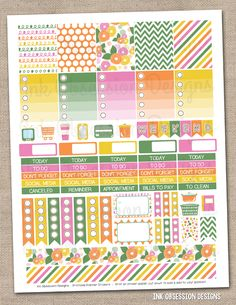 Spring Flowers Printable Planner Stickers PDF Instant Download Weekly Graphics
