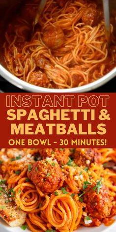 Instant Pot Spaghetti and Meatballs: an easy and delicious, one-pot meal that is ready in 30 minutes! #InstantPot #InstantPotSpaghetti #InstantPotSpaghettiandMeatballs #InstantPotRecipes #EasyDinnerIdeas #EasyDinnerRecipes #Spaghetti Instant Pot Pasta Recipe, Best Instant Pot Recipe, Instant Pot Dinner Recipes, Easy Dinner Recipes, Dinner Ideas, One Pot Spaghetti, Spaghetti And Meatballs, Pressure Cooker Recipes, Slow Cooker