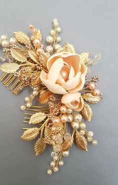 Peach flowers Gold Bridal hair comb, Gold Bridal headpiece with peach flowers, Bridal hair piece, Wedding hair piece, Wedding hair comb