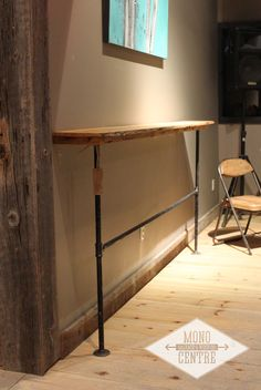 Check out our latest install for Higher Ground Coffee Co. An 8 foot long live edge laptop bar made from locally sourced Ash wood from Milton, Ontario. Rustic pipe legs round out the minimalistic look, add stability and maximize working space. Grab your favorite warm beverage and post-up to finish that screen play or just share some memories on FB!    - MCSWCo    #monocentresalvage #reclaimed #rustic #salvage #industrial #liveedge #laptop #bar