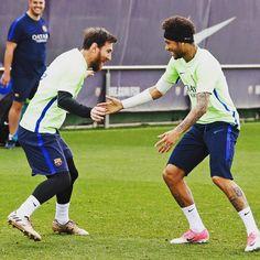 @leomessi @neymarjr  #FCBarcelona #IgersFCB #ForçaBarça #Training #Messi #Neymar