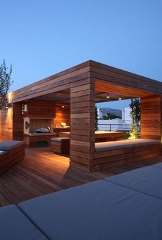 31 Cozy Rooftop Design Ideas For Your Outdoor Sanctuary To Try Asap - The roof is one of the essential parts of the house. It keeps the house cool on hot days and helps to keep heat when it is cold. Outdoor Pergola, Gazebo, Rooftop Design, Roofing Companies, Nara, Hot Days, How To Level Ground, Innovation Design, The Good Place