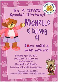 a36275921ac Personalized Customized Build A Bear Birthday Invitation