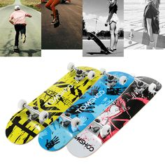 "TOMSHOO 31"" Pro Complete Skateboard Maple Wood Longboard Skate Board Retro Graffiti Style Cruiser Skateboard for Adult Children"