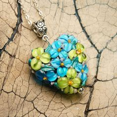 Heart Flower Pendant Necklace