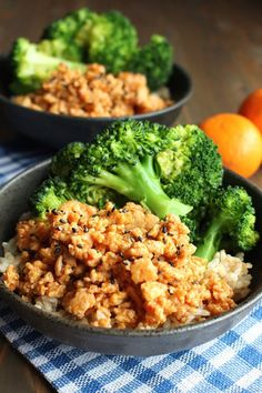 Orange ground chicken rice bowls. 19 Quick and Easy Ground Chicken Recipes #purewow #dinner #recipe #cooking #easy #chicken #food #groundchicken #chickenrecipes #chickendinners