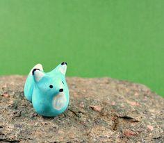 Miniature Figurine - NEW Little Blue Fox - Hand Sculpted Miniature Polymer Clay Animal