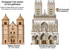 Comparer les deux types d'églises : art roman et art gothique Cultural Architecture, Gothic Architecture, Animation Flash, Theatrical Scenery, Medieval Crafts, Gate Design, Romanesque, Art History, Notre Dame