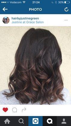 Balayage low lights. Dark brown hair with subtle low lights.
