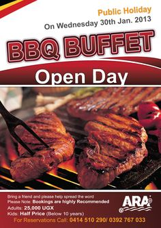 Come feast on the expertly prepared ARA BBQ Buffet on 30th January 2013..... DONT MISS OUT!!!!!