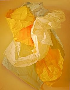 Claudio Bravo (Chilean, b. 1936) White, Blue and Yellow Papers, Oil on canvas, 57 ½ x 45 in, Painted in 2004.