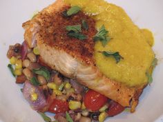 Southwestern Salmon with Black-Eyed Pea Succotash and Yellow Pepper Sauce