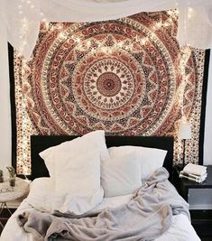 shop Urban Outfitters Tapestries decorative mandala curtains window hanging by jaipurhandloom. we offer dorm room tapestries cotton beach throws on sale price. Bedroom Inspo, Home Bedroom, Girls Bedroom, Bedroom Decor, Bedroom Ideas, Bedroom Curtains, Bedroom Lighting, Urban Bedroom, Hippie Bedrooms