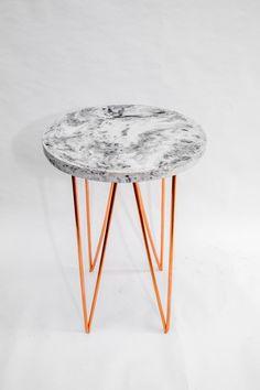 Circle triangles concrete and copper – a side table - Vincent Buret