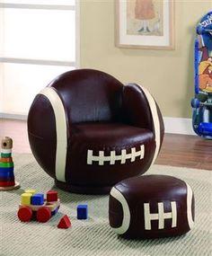 Kidu0027s Football Chair And Ottoman Set