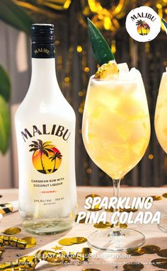 Ring in the new year with a Malibu Sparkling Piña Colada! This is the drink you'll want to have when the clock strikes midnight. Halloween Drinks, Christmas Drinks, Holiday Drinks, Summer Drinks, Fun Drinks, Beverages, Holiday Recipes, Diy Halloween, Craft Ideas