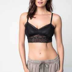 Lace Bralette Lace bralette that can be worn as a crossback or regular back. Available in black and burgundy. This listing is for the BLACK. Brand new. NO TRADES. Bare Anthology Intimates & Sleepwear Bras