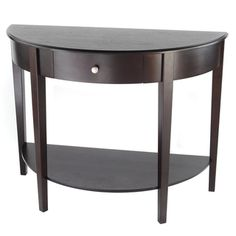 @Overstock - This elegant half-moon hall table features a lower shelf and center drawer which together create plenty of storage space. Constructed of heavy, dense and durable rubberwood, this table boasts a modern espresso finish.  http://www.overstock.com/Home-Garden/Bianco-Collection-Large-Half-Moon-Espresso-Hall-Table/7213265/product.html?CID=214117 $210.99