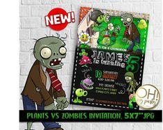 Plants Vs Zombies Invitation, Plants Vs Zombies Party, Plants Vs Zombies Birthday Invitation, Plants Vs Zombies Theme Printables,plants vs