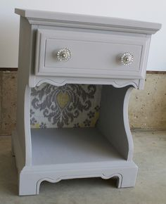 "van Gogh Chalk Paint Collection ""chivalry"" painted nightstand with fabric glued to back panel"
