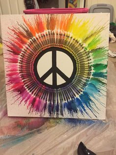 DIY Peace Sign Melted Crayon Art