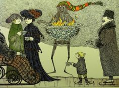 Flaming Punchbowl with Wooden Robot - Edward Gorey Edward Gorey, Fantasy Magic, Spooky Scary, Creepy, Illustrations And Posters, Children's Book Illustration, Surreal Art, Macabre, Dark Art