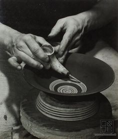 Ester Plicková - Beauty of clay. Making of a plate with a horn / Krása hliny. Pozdišovce property of Slovak national gallery Rings For Men, Clay Making, Gallery, Inspiration, Plate, Hands, Beauty, Art, Beleza