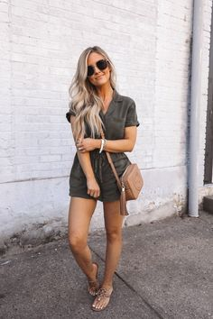I love me a cute romper! Cute Teen Outfits, Preppy Outfits, Summer Outfits, Fashion Outfits, Womens Fashion, Summer Clothes, Green Shirt Dress, White Ripped Jeans, Clothes For Women