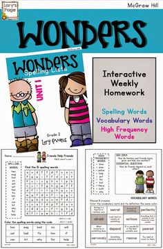 McGraw Hill WONDERS Weekly Spelling/Vocabulary Homework for each week.                  Try out Unit 1 for FREE!!