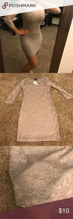 Lace bodycon Taupe lace 3/4 sleeve bodycon. New, never worn out and in like new condition. Forever 21 Dresses Mini