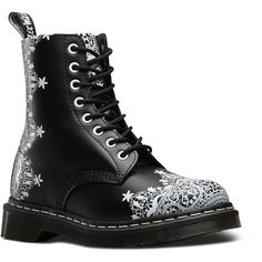 Dr. Martens Leather Pascal Lace Boots ($155) ❤ liked on Polyvore featuring shoes, boots, black, black victorian boots, goth boots, leather boots, slip resistant shoes and black lace shoes
