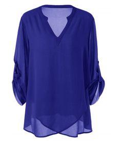 Women Chiffon Blouse Plus Size Split-Neck Adjustable Long Sleeve Blouse Shirt Autumn Casual Loose Tops Women Clothing blue 5 Top Fashion, Plus Size Fashion, Fashion Site, Fashion Clothes, Korean Fashion, Fashion Women, Curvy Fashion, Winter Fashion, Fashion Dresses