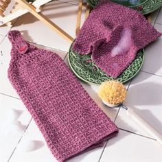 "Bring a rosy glow to your kitchen with this decorative dishcloth and towel. Crocheted from worsted weight yarn with a size F (3.75 mm) hook, these handy helpers are both absorbent and durable. <p><strong>Number of Designs:</strong> 1 Dishtowel & 1 Dishcloth </p><p><strong>Approximate Design </p><p><strong>Size:</strong></strong> Dishtowel - 12"" wide x 14"" long; Dishcloth - 9"" square"