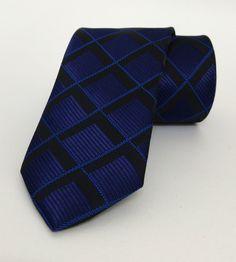 Tie Dark Blue and Black Plaid 7 cm (2,76 #handmadeatamazon #nazodesign