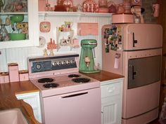 pink american kitchen from the fiftys