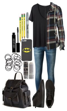 """Stiles Stilinski Inspired School Outfit"" by lili-c ❤ liked on Polyvore featuring Mother, The Row, AllSaints, Korres, BDG, H&M, Lord & Berry and Sharpie"