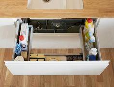 trendy kitchen storage under sink Kitchen Sink Storage, Best Kitchen Sinks, Under Sink Storage, Tidy Kitchen, Kitchen Sink Faucets, Kitchen Drawers, Kitchen Tops, Kitchen Cabinets, Kitchen Ideas