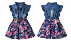 Little Girls Princess Denim Dress Floral Swing Ruffle dress with Belt Girls Casual Summer Clothes One-Piece 2 3 4 5 6 7 8 years Denim Fashion, Look Fashion, Kids Fashion, Baby Girl Dresses, Cute Dresses, Casual Summer Outfits, Kids Outfits, Baby Dress Design, Baby Dress Patterns