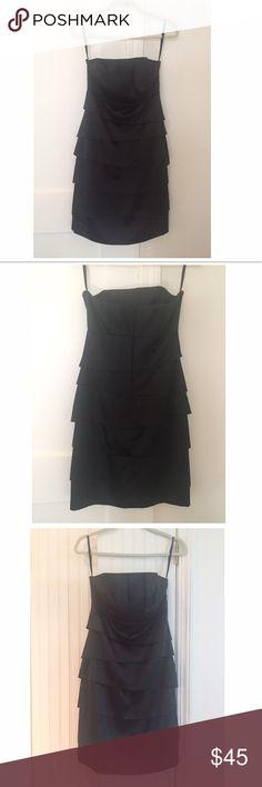 EUC WHBM Black Satin Bias Layer Strapless Dress 2 Worn only one time. Description to follow shortly... White House Black Market Dresses Strapless