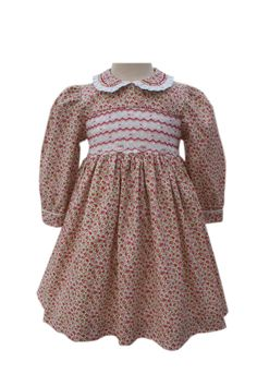 Floral Girls Long Sleeves Dress Harriet With Chevron Smocking