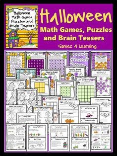 Halloween Math Games, Puzzles and Brain Teasers is a collection of Halloween Math from Games 4 Learning. Contains loads of spooky, Halloween math fun and is perfect for October math activities. $