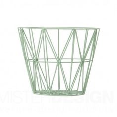 The lovely Wire basket in mint comes from Ferm Living, the basket is both functional and a stylish interior decoration. Use it to store your things or combine it with a Wire basket top to create a small side table or night stand. Large Wire Basket, Wire Basket Storage, Wire Storage, Large Baskets, Baby Storage, Basket Tray, Design Tisch, Sweet Home, Green Home Decor