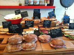 Sandwich selection at Fernandez and Wells in Soho. I had the Lomo, Manchego and Oak Roast Tomato...