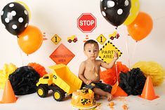Redlands, CA cake smash photographer Construction Cake Smash, Construction Birthday Shirt, Construction Theme, Digger Birthday Parties, Boys 1st Birthday Party Ideas, Baby Boy Birthday, 2nd Birthday, Twins 1st Birthdays, Rancho Cucamonga