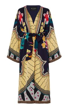 Etro Printed Kimono Robe Look - Fashion look Look Fashion, Daily Fashion, Womens Fashion, Fashion Design, Mode Kimono, Kimono Top, Kimono Style, Neutral Trousers, Cotton Jacket
